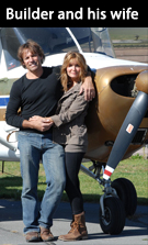 Silohome Complex Builder Bruce Francisco and his wife Kelly standing in front of complex with Cessna airplane